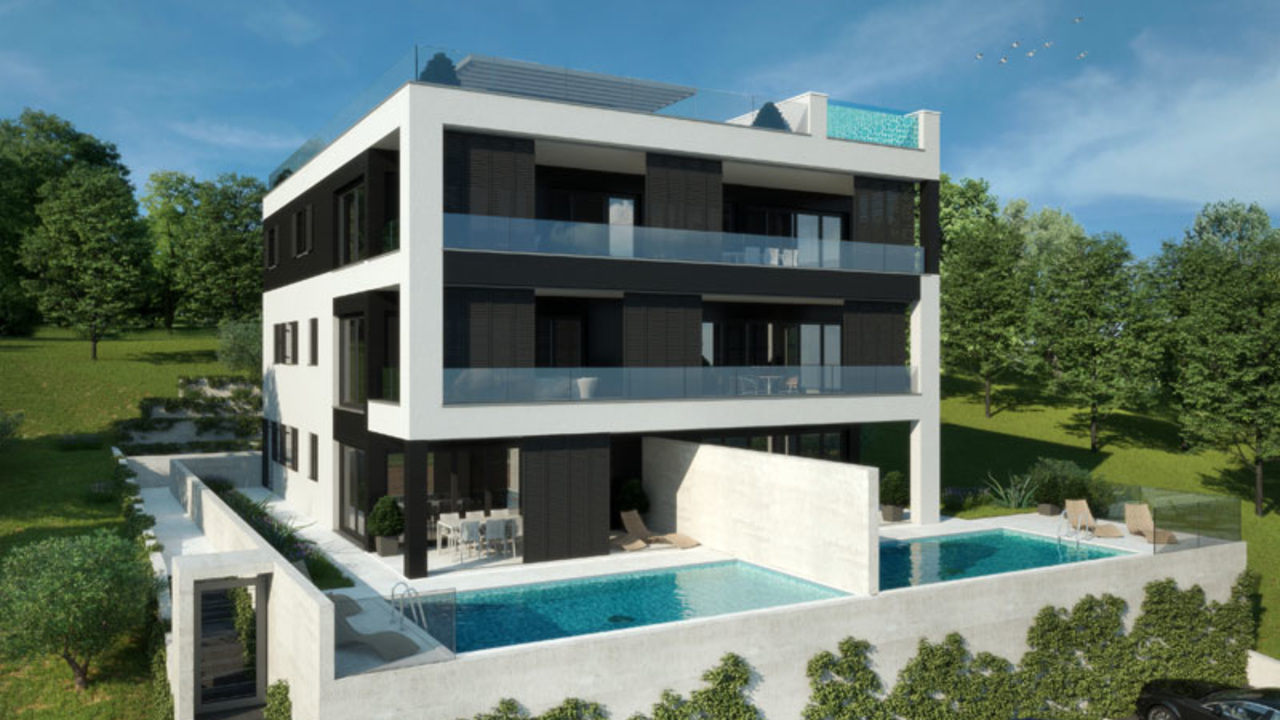 Luxury apartments with pool, 100 m from the sea, Posedarje